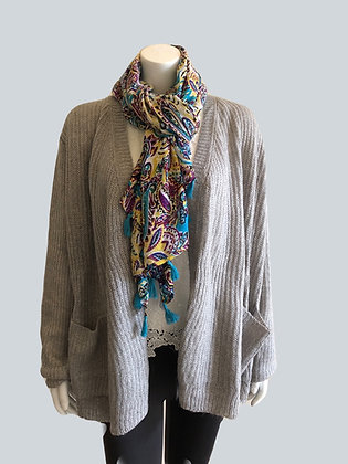 Floral and Paisley Scarf with Tassels