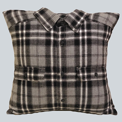 "Hand Crafted 16""x16"" Black and White Flannel Shirt Pillow"