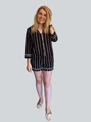 Black Stripe Chiffon Long Sleeve Loungewear Set