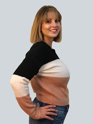Mauve Pink and Black Color Block Sweater