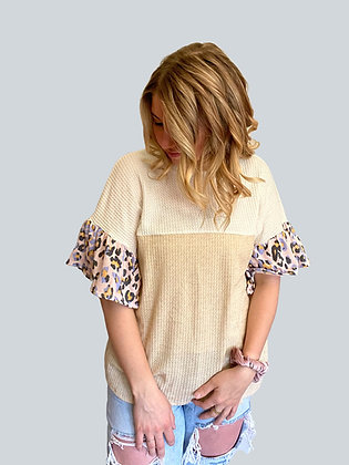 Color Block Animal Sleeve Blouse