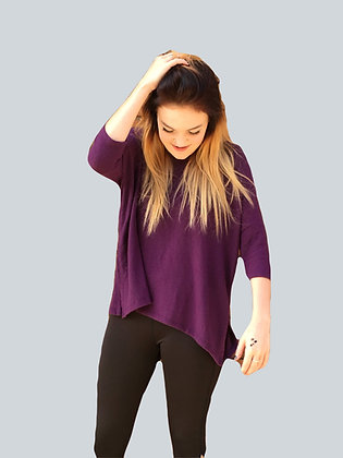 Purple Drop Shoulder Relaxed Knit Top