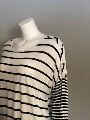 Ivory Black Stripes Plus Size Top