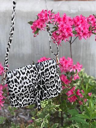 Snow Leopard Print Crossbody Bag