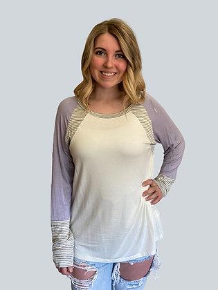 Lavender and Stripe Raglan Long Sleeve Top