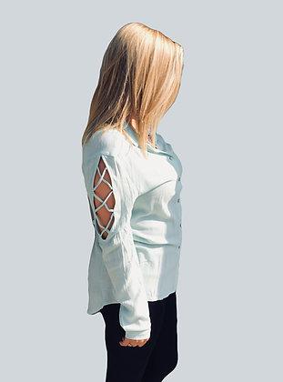 Mint Criss-Cross Open Sleeve Top