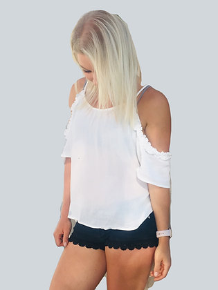 White Ruffled Cold Shoulder Tank