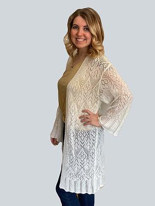 White Crochet Scallop Hem Boho Duster