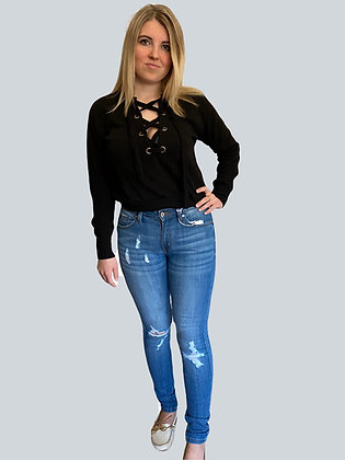 KanCan Distressed Mid Rise Super Skinny Jean