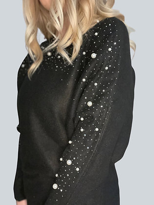 Black Long Sleeve Top with Faux Pearl Detail