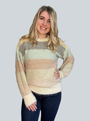 Crew Neck Color Block Stripe Sweater