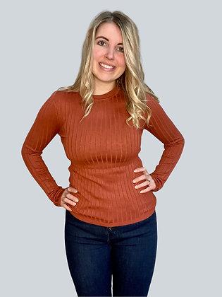 Orange Ribbed Long Sleeve Top