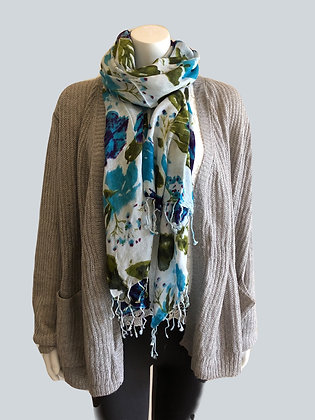 Blue Floral Print Scarf with Tassels