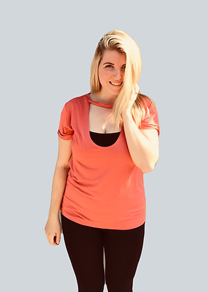 Light Red Soft Keyhole Cutout Top