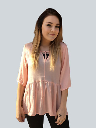 Pink 3/4 Sleeve with O'Ring At Front Babydoll Top