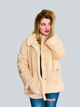 Khaki Beige Faux Fur Fleece Long Sleeve Button Up Pocketed Oversized Teddy Coat