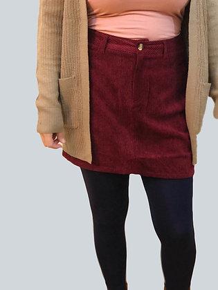 Wine Corduroy High Waisted Skirt