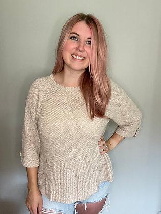 Beige Flounce Sweater