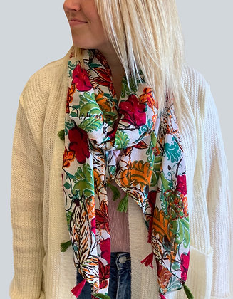 Lightweight Red Roses Scarf with Tassels