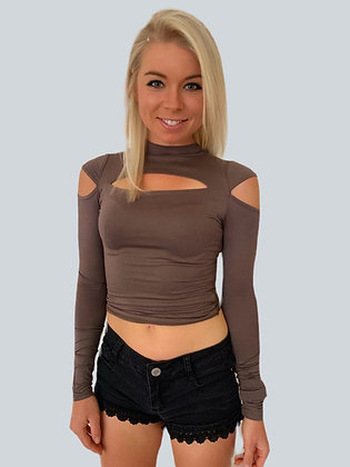 Soft Mocha Front Cutout Cold Shoulder Top