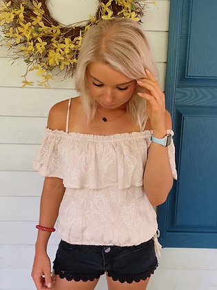 Nude Embroidered Bohemian Off the Shoulder Top