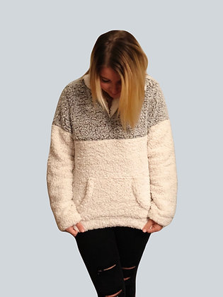 Grey & Off White Pullover Sherpa