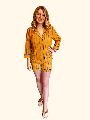 Mustard Stripe Chiffon Long Sleeve Loungewear Set