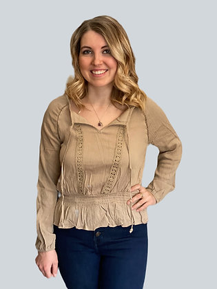Khaki Lace & Ruffle Hem Peasant Blouse Top