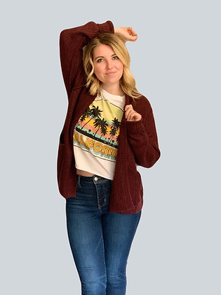Burgundy Exposed Stitch Cardigan