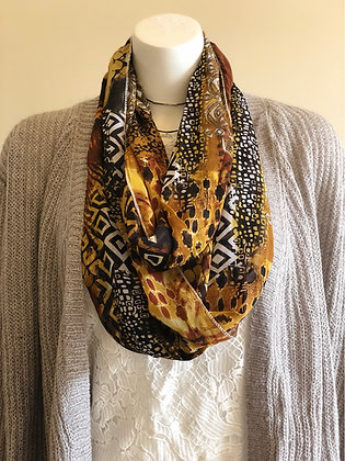Gold and Black Chiffon Infinity Scarf
