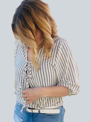 Ivory Striped Blouse Top