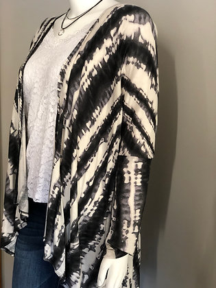 Black White Tie-dye Plus Size Cardigan