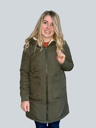 Olive Reversible Sherpa Jacket