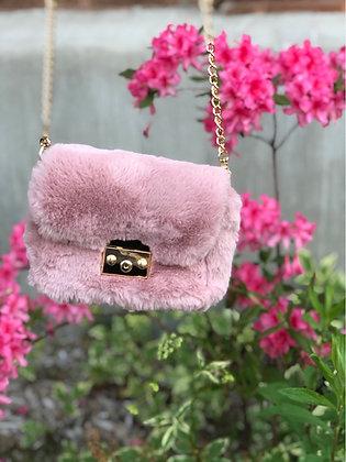 Dusty Pink Faux Fur Clutch Crossbody