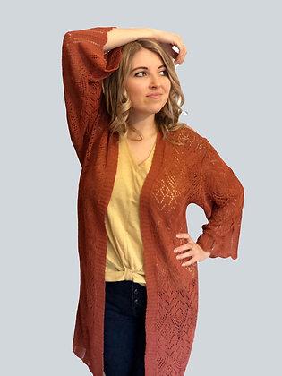 Rust Crochet Scallop Hem Boho Duster