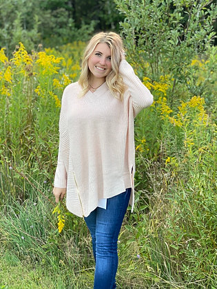 Soft Pink Asymmetrical Oversized Long Sleeve Top