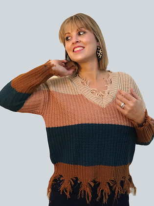 Color Block Knit Fringed Trim Sweater
