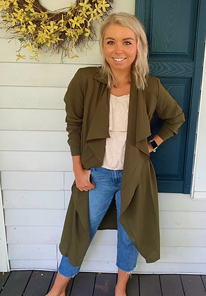 Olive Open Front Lightweight Long Sleeve Trench Coat Jacket