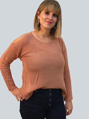 Peach Cold Shoulder Sweater