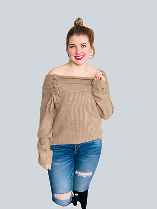 Khaki Brown Knit Lace-up Off The Shoulder Boho Sweater