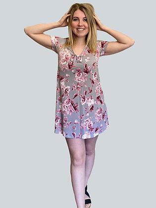 Floral Tie Front Short Dress