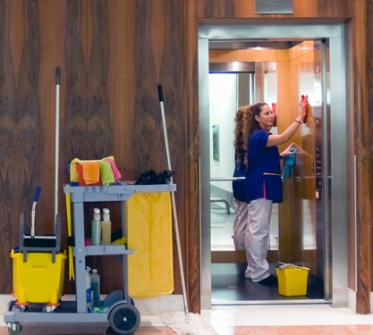 Corporate janitorial services.