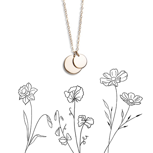 Birth flower double circle necklace tiny extra