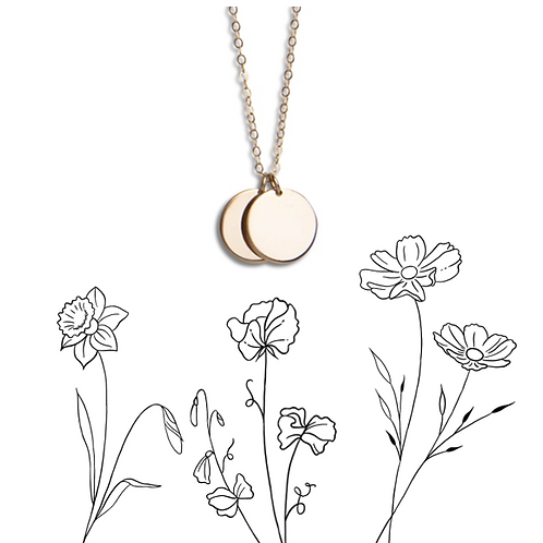 Birthflower double circle necklace