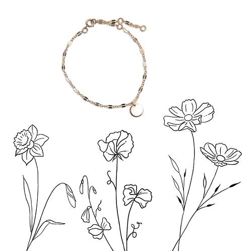 Birth flower lace bracelet