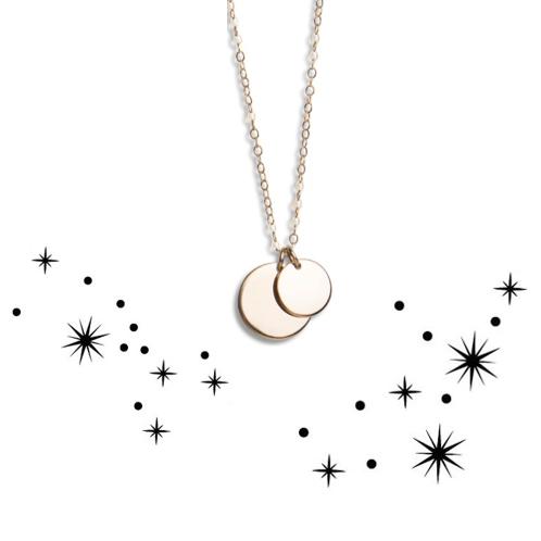 Zodiac circle necklace tiny extra
