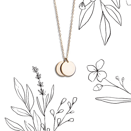 Wildflower double circle necklace