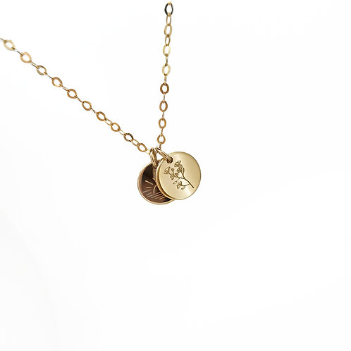 Double tiny circle necklace
