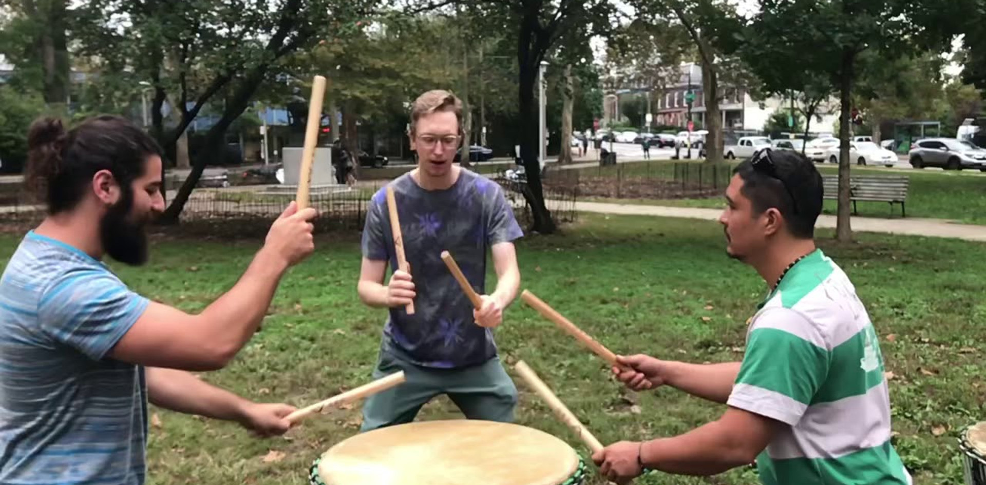 Six stroke roll. Three students. One drum. SLOW MOTION!
