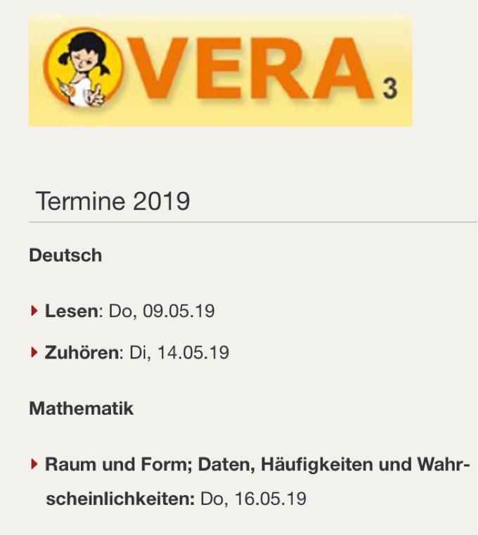 VERA - Vergleichsarbeiten in Klasse 3